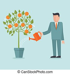 Vector investment concept in flat style - businessman ...