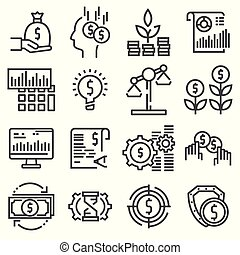 Vector Investment icon set in thin line style