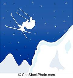 vector, invierno, ilustración, esquí