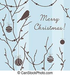 vector, invierno, tarjeta, con, pájaro