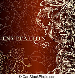 Vector invitation card in vintage style