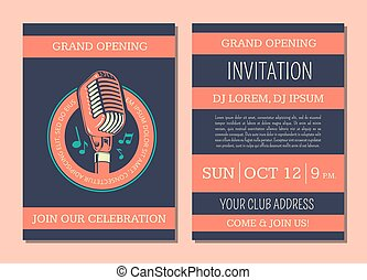 Invitation card for music performance or concert isolated vector invitation card template for karaoke music club thecheapjerseys Images