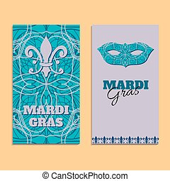 Vector invitation card template to Fat Tuesday. Mardi Gras carnival welcome