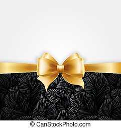 Invitation card with Gold holiday ribbon on vintage background