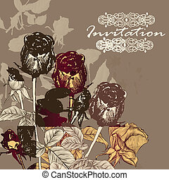 Vector invitation card with roses