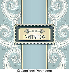 vector invitation template eastern pattern and place for your text on grungy background