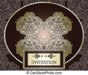 vector invitation template on seamless pattern