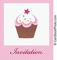 vector invitation with cupcake on decorative background