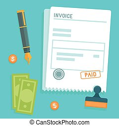 Vector invoice concept in flat style - bill icon with stamp ...