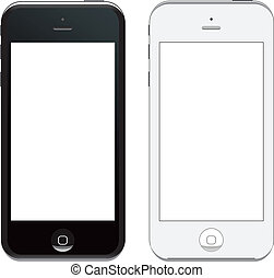 vector iphone 5 - illustration of latest iphone. both black ...