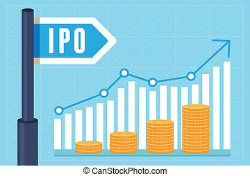 Vector IPO (initial public offering) concept in flat style...