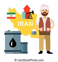 Vector Iran Oil Industry. Flat style colorful Cartoon...