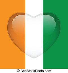 Ireland Flag Heart Glossy Button