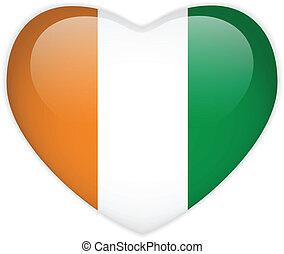 Ireland Flag Heart Glossy Button - Vector - Ireland Flag...
