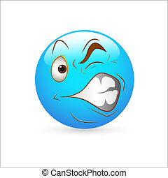 vector, irritación, smiley, icono
