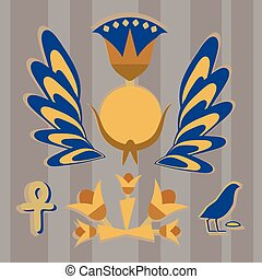 Vector is an ancient Egyptian composition from the sun, flowers, feathers, birds in yellow-blue tones against the background of gray stripes.