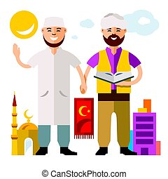 Vector Islam. Islamic Prayers. Flat style colorful Cartoon illustration.