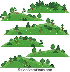 vector isolated art for games. Hills with trees and shrubs...