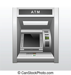 Vector Isolated ATM Bank Cash Machine