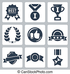 Vector isolated awards icons set