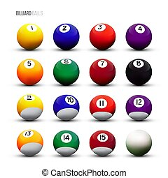 Vector isolated billiard balls on white background. -...