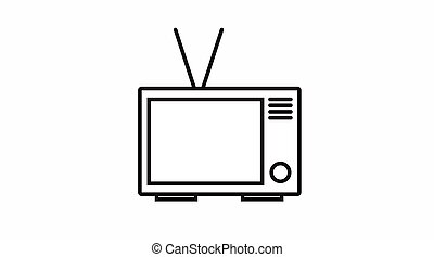 TV Icon - Vector Isolated Black and White TV Icon