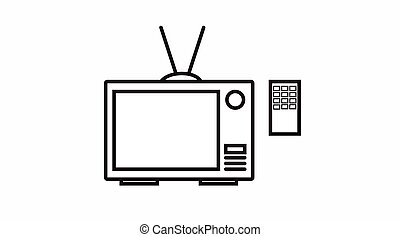 TV Icon - Vector Isolated Black and White TV Icon with ...