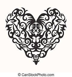 isolated black creative design heart tattoo