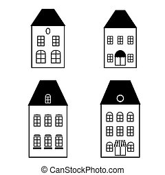 Vector isolated black simple illustration facades of the house.