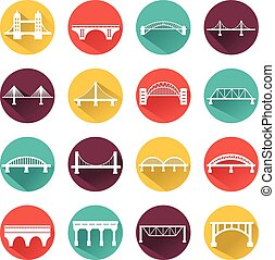 Vector isolated bridges icons set.