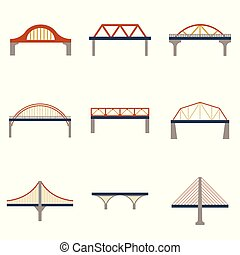 Vector isolated bridges icons set
