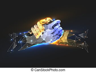 Vector isolated brotherly handshake. Low poly wireframe and points. Polygonal 3D white agreement concept on dark background. Business concept with geometry triangle. Abstract deal mash line origami