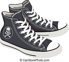 vector isolated cartoon black sneakers