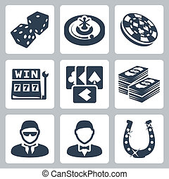 Vector isolated casino and gambling icons set