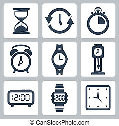 Vector isolated clocks icons set