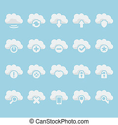 Vector isolated cloud icons set