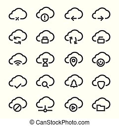 Vector isolated cloud technologies icons set