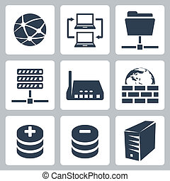 Vector isolated computer network icons set