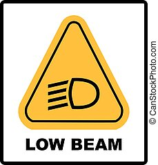 vector isolated dashboard sign with description. low beam