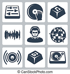 Vector isolated dj and music icons set