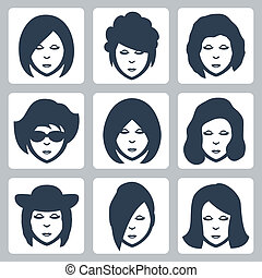 Vector isolated female faces icons set