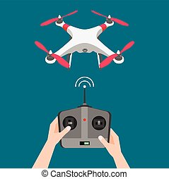 Vector isolated flying drone with camera and controller