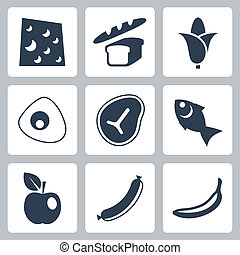Vector isolated food icons set