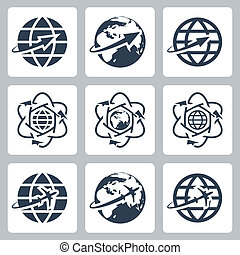 Vector isolated globe with a plane or an arrow icons set