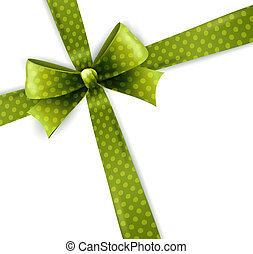 Vector isolated green polka dots bow