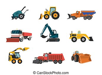 Vector isolated icons of snow plows for cleaning road in winter season