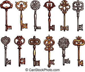 Vector isolated icons sketch of vintage keys - Vintage keys...
