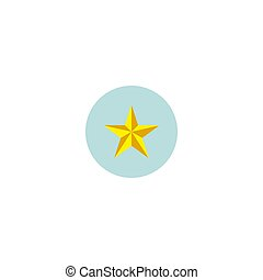 Vector isolated illustration. Gold star icon, sticker.