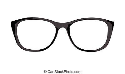 black Glasses frame on a white background