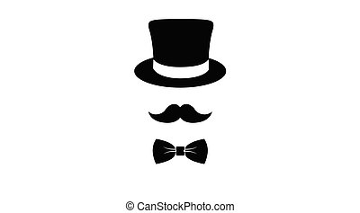 Hat, Moustache and Bow Tie Icon